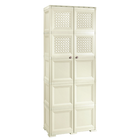 OMNIMODUS CUPBOARD - 5 MODULES WITH 6 SOLID DOORS AND 4 WOVEN LATTICE-STYLE DOORS