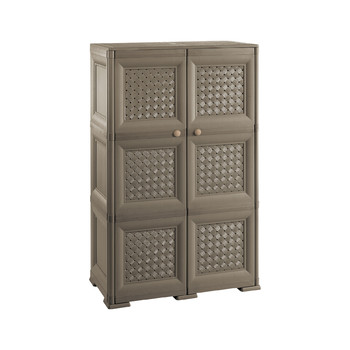 Omnimodus Cupboard - 3 Modules With Woven Lattice-style Doors