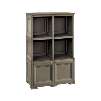 OMNIMODUS CUPBOARD - 1 MODULE WOOD-FINISH DOORS AND 2 SHELF MODULES