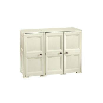 OMNIMODUS CUPBOARD - 3 DOORS, 2 MODULES WITH OPTIONAL SUPPORTS AND WOOD-FINISH DOORS
