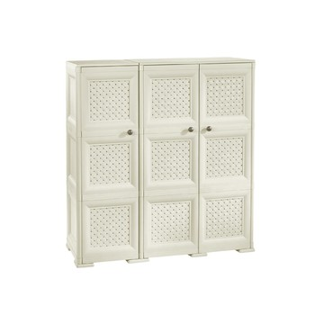 OMNIMODUS CUPBOARD - 3 DOORS, 3 MODULES WITH OPTIONAL SUPPORTS AND WOVEN LATTICE STYLE DOORS