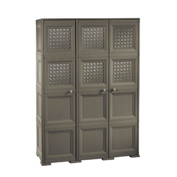 OMNIMODUS CUPBOARD - 3 DOORS, 4 MODULES WITH OPTIONAL SUPPORTS AND WOOD-FINISH AND WOVEN-LATTICE-STYLE DOORS