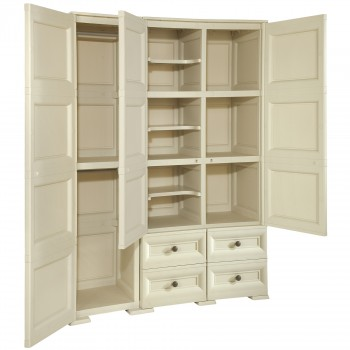 OMNIMODUS WARDROBE - 2 HANGING SPACES, 3 INTERMEDIATE SHELVES, 3 OPEN MOD., 4 DRAWERS