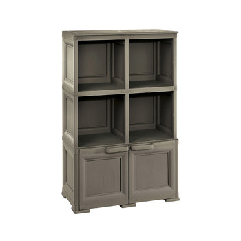 OMNIMODUS - 2 OPEN SHELVES + 1 WITH WOOD FINISH DOORS